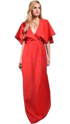 DRESSEOS - Vestido largo sin espalda con capa en rojo de Dresseos Muy cómodo y favorecedor. Es ideal para todo tipo de cuerpos y perfecto para llevar en una boda de tarde o evento de noche - Invitada elegante - alquilar vestido fiesta