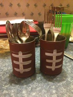 "Super Bowl party or simply paint a color for birthday. Another idea, use chalk paint and write contents/message on top ring ""spoons"" or ""happy birthday"""