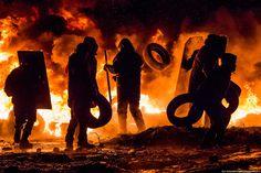 Des manifestants lors des affrontements à Kiev, le 23 janvier.  Ilya Varlamov