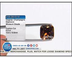 8.51 ct Cognac Champagne Diamond Cushion 10.8 x 10.6 mm