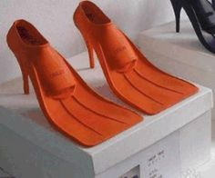 These shoes are disturbing and yet awesomely practical. Amphibious shoes, who knew? I want them... I could probably make them myself. I've got an old pairs of fins in the basement!
