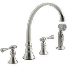 KOHLER K-16109-4A-BN Revival Kitchen Sink Faucet, Vibrant Brushed Nickel >>> You can find more details by visiting the image link. (This is an affiliate link) #touchonkitchensinkfaucets