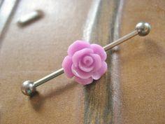 Lavender Purple Rose Industrial Barbell Piercing Jewelry Flower Bud Earring Ear Bar Barbell Rosebud via Etsy