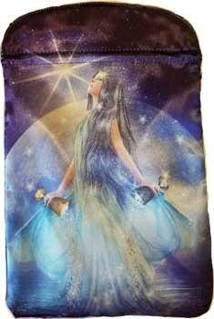 Thelema tarot bag is dramatic bag, with elegant long haired woman holding both…