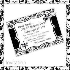 Birthday Party Invitations  Classic Damask by BlackCherryPrintable