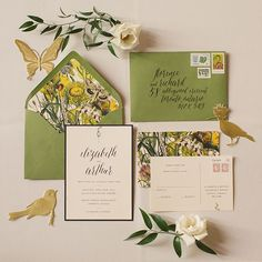 Garden-inspired invitation suite designed by Paper & Poste and calligraphed by Post Calligraphy | Photo by Rebecca Wood