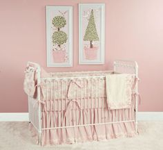 Pink toile crib bedding - classic choices for a baby girl
