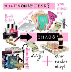 """""""Chaos Desk"""" by starspy ❤ liked on Polyvore featuring interior, interiors, interior design, home, home decor, interior decorating, Sally Hansen, Yoobi, Lilly Pulitzer and Happy Jackson"""