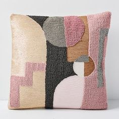 With their geometric motif, beaded accents and hand-embroidered metallic details, our Embellished Deco Shapes Pillow Covers are a modern take on Art Deco influences for an eye-catching pop on sofas, chairs or beds. Cushion Covers, Pillow Covers, Paint Swatches, Idee Diy, Textiles, Crewel Embroidery, Punch Needle, Rug Hooking, West Elm