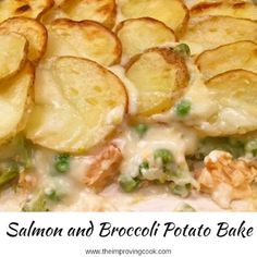 Salmon and Broccoli Potato Bake- salmon, broccoli and peas in a cheesy sauce and topped off with sliced potatoes. A real winter warmer for family meals. Chicken And Leek Recipes, Baked Salmon Recipes, Fish Recipes, Seafood Recipes, Vegetarian Recipes, Cooking Recipes, Healthy Recipes, Garlic Chicken, Chicken Potato Bake