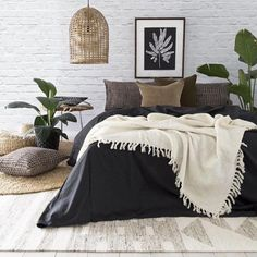 Bedroom Perfection Add some boldness to your bedroom with our new range of striking Bamboo Charcoal linen x Bedroom Inspo, Home Bedroom, Bedroom Furniture, Master Bedroom, Bedroom Decor, Bedrooms, Charcoal Bedroom, Home Interior, Interior Design