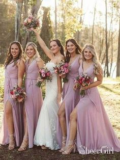 c4acf60d4b5 Cheap Long Lilac Bridesmaid Dresses with Slit and Sash ARD1899