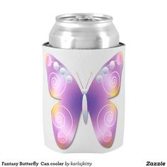 """Fantasy Butterfly  Can cooler -   A fantasy butterfly vector in purple with orange, yellow, pink, and blue accents on a white background plus your text. A smaller version on the bottom. Click on the """"Customize It!"""" button to customize, add text, add images, adjust the placement, etc. Artwork and design by Karlajkitty"""