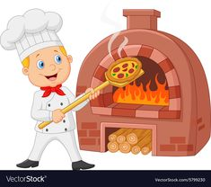 Cartoon chef holding hot pizza with traditional oven royalty-free stock vector art