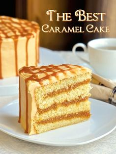 The Best Caramel Cake Recipe ~ The moist vanilla cake gets filled with layers of homemade caramel sauce, then covered in a caramel buttercream frosting and drizzled with a little more caramel sauce. This cake is utterly delicious and irresistible. Homemade Vanilla Cake, Moist Vanilla Cake, Homemade Caramel Sauce, Food Cakes, Cupcake Cakes, Southern Caramel Cake, Carmel Cake, Caramel Buttercream Frosting, Fudge Frosting