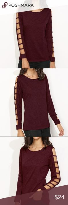 Ladder Cut Tshirt Cute burgundy ladder cut long sleeve tshirt. Perfect for fall!! Tops Tees - Long Sleeve