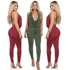 32ecfa8d598 Backless Halter Bodycon Jumpsuits Halter Neck