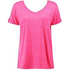 Boohoo Ella V Neck Pocket Jersey Tee ($10) ❤ liked on Polyvore featuring tops, t-shirts, v neck tee, long sleeve tees, long-sleeve crop tops, long sleeve crop top and pink v neck t shirt