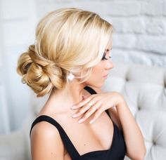 Beautiful low bun wedding hairstyles, bridal hairstyles, curly updo