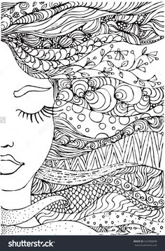 stock-vector-hand-drawn-ink-doodle-womans-face-and-flowing-hair-on-white-background-coloring-page-zendala-423480898.jpg (1050×1600)