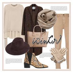 """Winter Sweater"" by nazgul-jumagulova ❤ liked on Polyvore featuring AG Adriano Goldschmied, Oris, TIBI, The 2nd Skin Co., Brunello Cucinelli, MANGO, Whistles and Hermès"