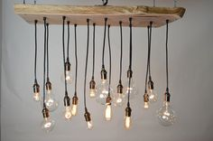 Live Edge Walnut Chandelier with Edison bulbs. Girl and the Abode - Exposed Bulbs.
