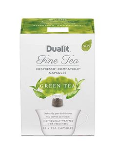 Dualit NX Fine Tea Capsule – Green Tea Naturally Pure & Delicious Experience the deliciously smooth flavours and remarkable freshness of our pure Green Tea. High quality, young hand plucked leaves, single origin sourced from tea gardens in Kenya. Pure Green Tea, Tea Gardens, Single Origin, Kenya, Nespresso, Brewing, Smooth, Leaves, Pure Products