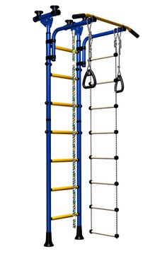 Indoor Sport Gym for Kids, model Olympian-2.04 with metal rungs covered with plastic- Jungle Gym with metal rungs