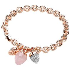 Buckley London Buckley Rose Gold Plate Rose Quartz Acorn Charm... ($51) ❤ liked on Polyvore featuring jewelry, bracelets, rose gold plated jewelry, charm bracelet and rose quartz jewelry