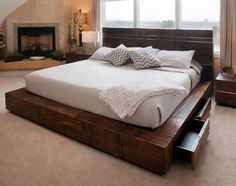 Rustic meets modern in this contemporary platform bed design. Using reclaimed woods & stainless steel give it a unique mdoern rustic character. Need this bed. Rustic Platform Bed, Platform Bed Designs, King Size Platform Bed, Platform Bed Frame, Platform Bed Storage, Modern Platform Bed, Floating Platform Bed, Rustic Bedroom Furniture, Rustic Bedding