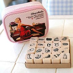 20 Set - Shopaholic 60's Pop Art Stamps in Pouch (5.7 x 4.9in) on Etsy, $34.65