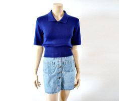 GERALDINE french Vintage 50s Cobalt knit Blouse by bOmode on Etsy, $45.00