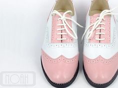 Pink White Vintage Inspired Fashion Handmade Handcrafted High Heels Leather Wing tips