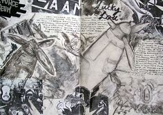 I love the way that they have used loads of different techniques and the full tonal range on the white background. Sketchbook Inspiration, Sketchbook Ideas, Design Inspiration, Artist Research Page, Art Journal Pages, Journal Ideas, A Level Art Sketchbook, Drawing Sheet, Art Portfolio