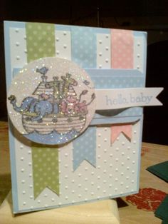 Baby ark love the dazzling diamonds glitter over the top of picture! Baby Boy Cards, New Baby Cards, Baby Shower Cards, Hand Made Greeting Cards, Embossed Cards, Kids Cards, Creative Cards, Cute Cards, Scrapbook Cards