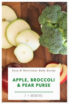 Apple, Broccoli and Pear! Three delicious ingredients for your little ones to enjoy together. Its simple, nutritious and most importantly oh so delicious! Baby Broccoli Recipe, Broccoli Puree, Baby Puree Recipes, Apple Recipes, Baby Food Recipes, Apple Pear, Delicious Fruit, Homemade Baby