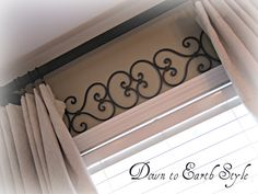 Metal work above windows- they don't need a valance then. Also this would be a great idea for drop cloth curtains I have planned for the living room My Living Room, Home And Living, Living Room Decor, Muebles Home, My New Room, Window Treatments, Window Coverings, Bad, Home Projects