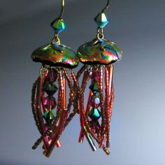 Fabulous Iridescent Jewel Tone Jellyfish Earrings. $145.00, via Etsy.