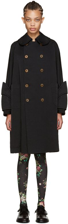 Comme des Garçons - ブラック オーバーサイズ ダブルブレスト コート