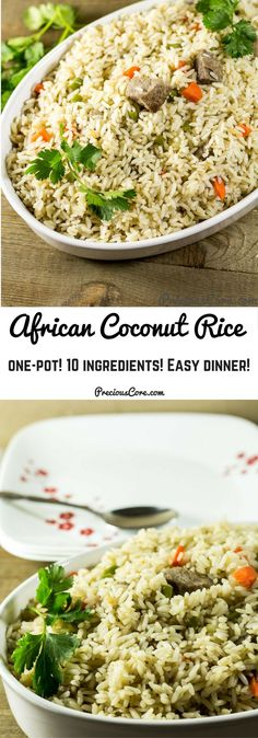 My mother taught me how to make this Cameroonian coconut rice. It is a complete balanced meal all made in one pot! A very good African coconut rice recipe. Rice Recipes, Side Dish Recipes, New Recipes, Dinner Recipes, Cooking Recipes, Healthy Recipes, Recipies, Coconut Recipes, Dinner Ideas