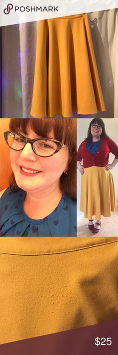 ModCloth Just This Sway Midi Circle Skirt My beloved Snow White skirt I've grown out of! 😱I actually wore this quite a lot, hence the little pilling spot where my handbag rubbed it. There's also a small dark spot on the front (see photos). Other than that, it is twirl-worthy and ready for a night out on the town! I love reds and blues with it, but also adore bright fuchsia or teal! So many options! Fully lined with pockets. Side zip and elasticized on back of waist. Hard to let this one go…