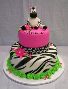 fondant zebra baby shower cake