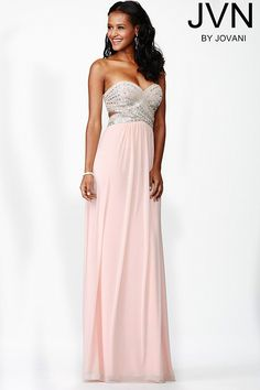 Beautiful floor length strapless blush mesh prom dress with empire waist features crystal embellished bodice with sweetheart neckline.