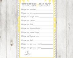 Digital Printable Yellow Oh Baby Wishes for Baby Cards for Gender Neutral Baby Showers