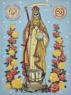 Santa Muerte by Ravi Zupa Editioned artwork La Santa Muerte Tattoo, Santa Muerte Prayer, Howleen Wolf, Day Of The Dead Artwork, Catty Noir, Occult Art, Season Of The Witch, Chicano Art, Arte Horror