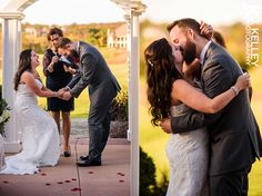 Awesome first kiss photo during Columbia MO outdoor wedding ceremony