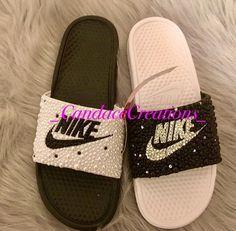 Bedazzled Mismatch Nike Slides Nike Sandals, Vans Shoes, Emerald Green Shoes, Disney Converse, Lodge Bedroom, Diy Slides, Nike Flip Flops, Baskets, Basket Style