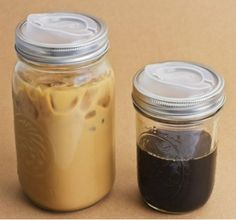 Pre-make drinks and store them in the fridge. Use a disposable coffee cup lid to make it easy to drink!