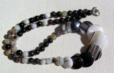 Botswana Agate Crystal Gemstone Necklace  Aten by SunnyCrystals, £12.75 #jewelry #necklace #agate #black #brown #white