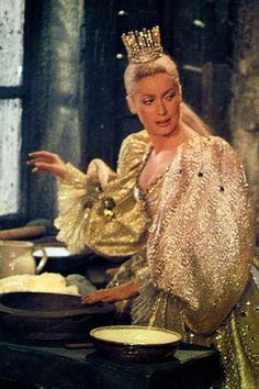 Peau d'ane (1970) Catherine Deneuve in title role & director Jaques Demy - dress in the colour of the sun. Costume design: Gitt Magrini